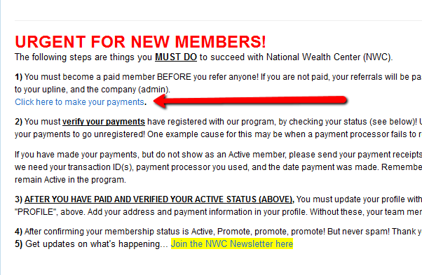 how to signup into national wealth center